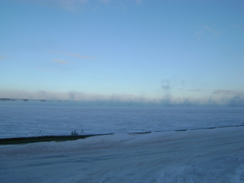 Steam clouds rising as Lake Superior freezes