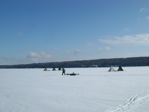 Ice fishing on the Keweenaw Bay