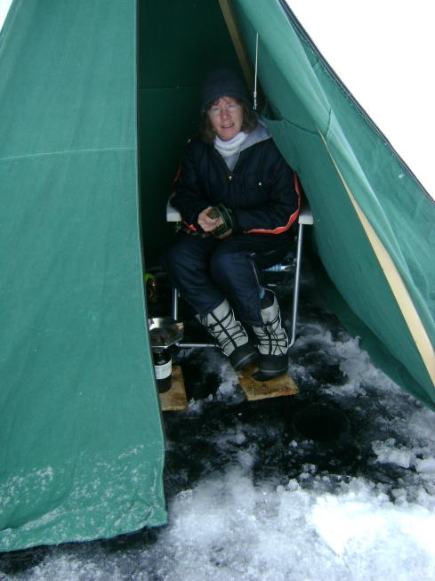 Me in the ice fishing tent