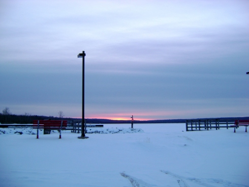 Sunset on Keweenaw Bay, end January, 2009
