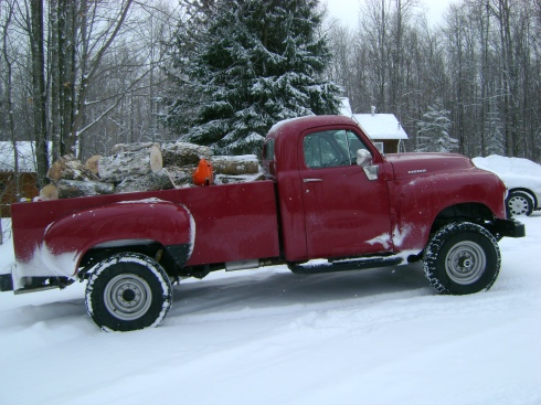 Our trusty 1949 Studebaker loaded with wood & chainsaw