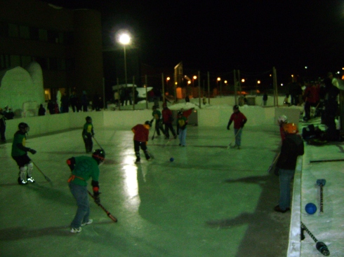 Exciting broomball action!