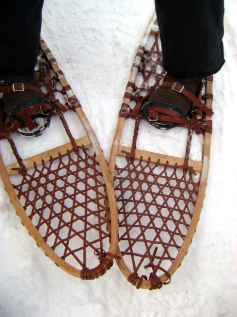 Nancy's wooden snowshoes