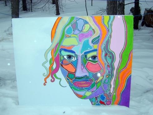 Colorful mosaic lady