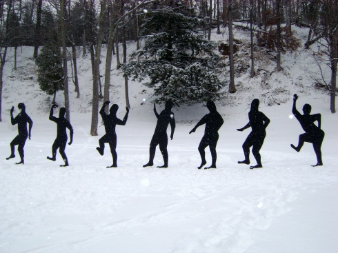Shall we dance along with those figures out there in the snow?