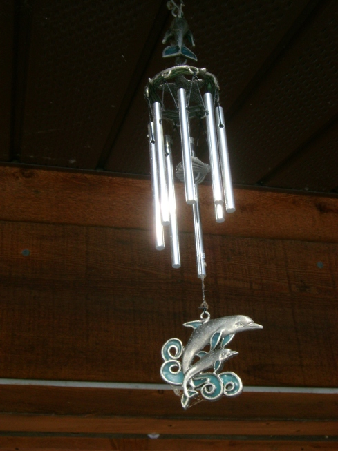 Dolphin wind chimes on our deck