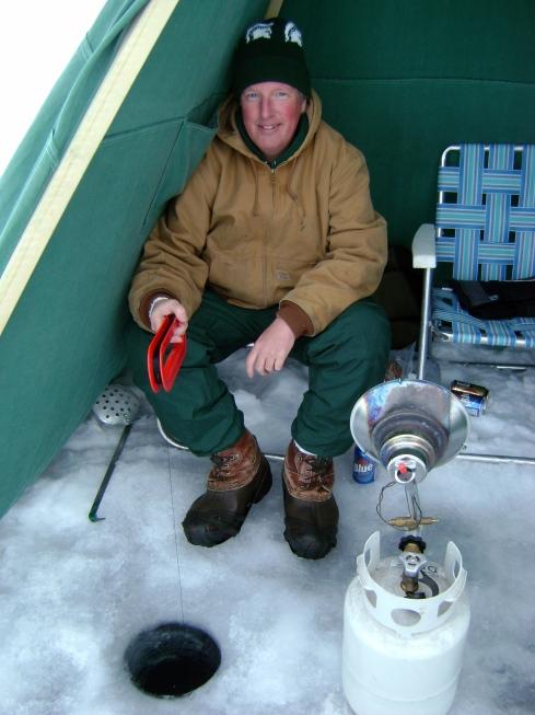 Georgia boy Craig fishing in the tent