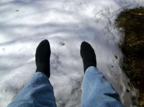 Dangling feet off deck (about a six foot jump)