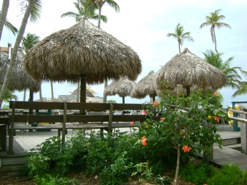 Tiki huts at the Outrigger bar