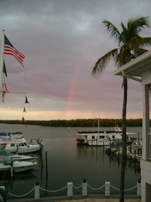 Rainbow over the Back Bay last night, just before dinner at the Bayfront Bistro