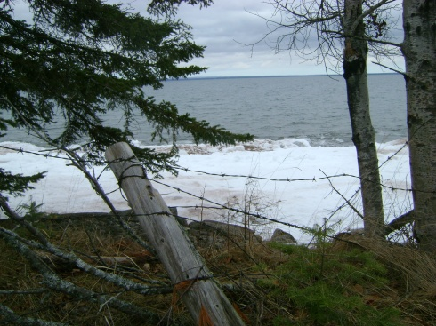 Peering through old barbed wire to see Lake Superior