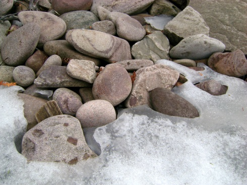 Rocks and more rocks...waiting for the snow to melt