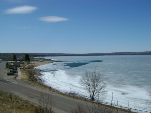 Ice melting on Keweenaw Bay in L'Anse