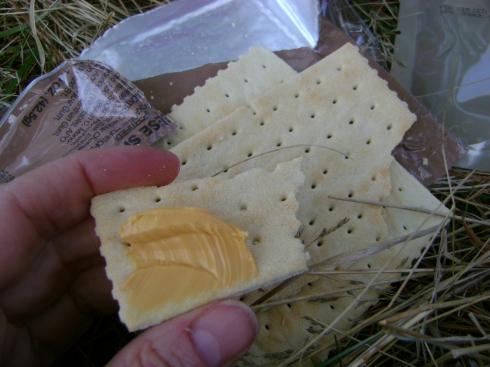 Processed cheese and crackers, army style