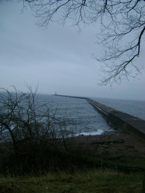 The break wall on Presque Isle (very dangerous to walk during high waves)