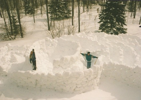Now THAT's a snow fort!  (viewed from our roof back in the early 90's)