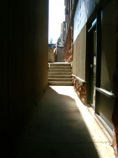 Slant of sun through an alley