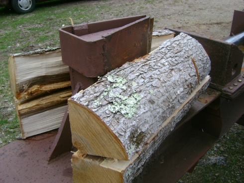 The wood splitter in action