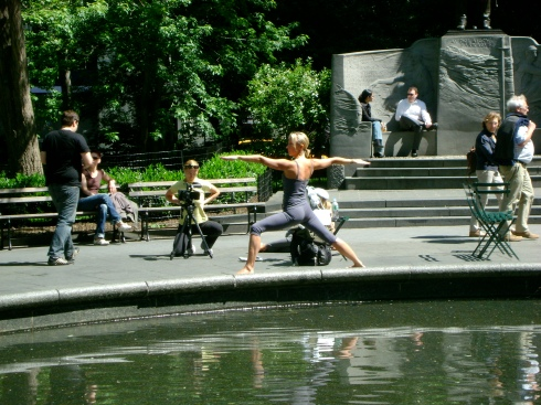 Yoga photo shoot at Madison Square Park