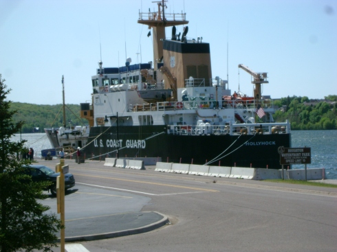 Coast Guard boat docked in Houghton