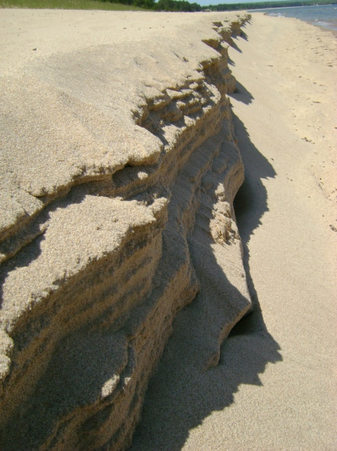 Sand layers breaking off between water & shore