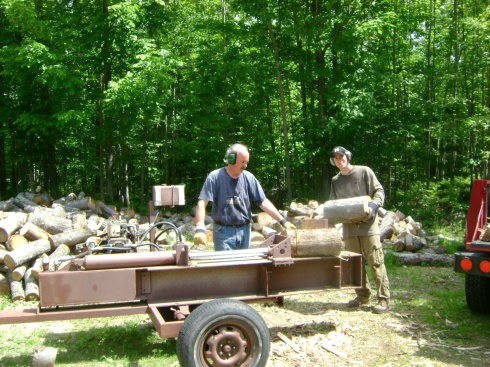 Barry & Christopher do the wood splitting