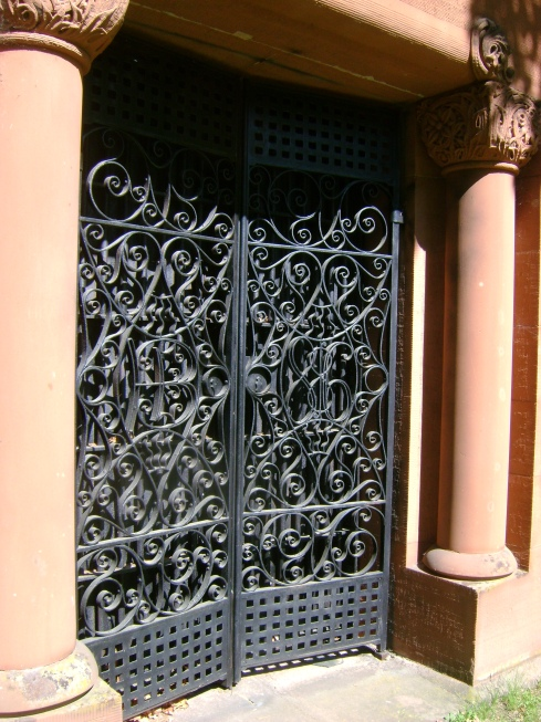 Wrought iron gate...perhaps a mausoleum?