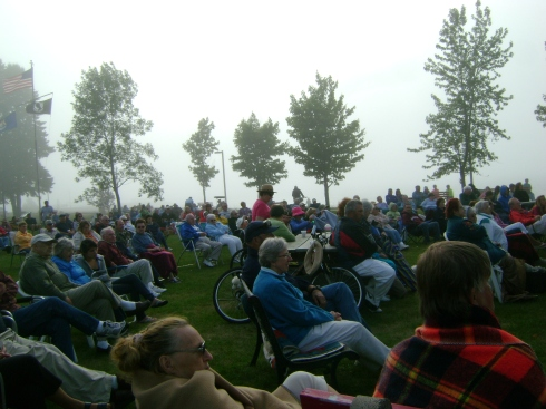Fog obscures the Keweenaw Bay, but doesn't keep the crowd home