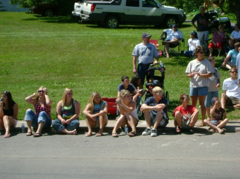 Lined up along the curb to watch the parade