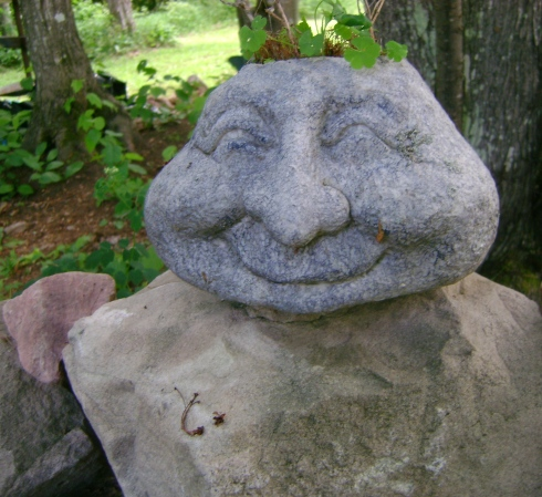 Happy rock face with plants growing in its head