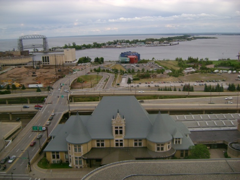 Looking down on Duluth from the revolving restaurant atop the Raddison Hotel