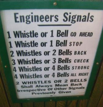 You got this straight?  Especially the part about 2 whistles or 2 bells?