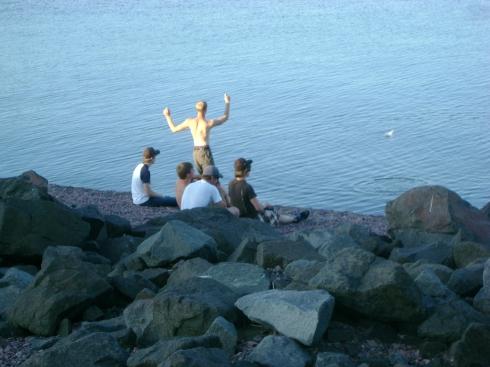 Skipping rocks into Lake Superior