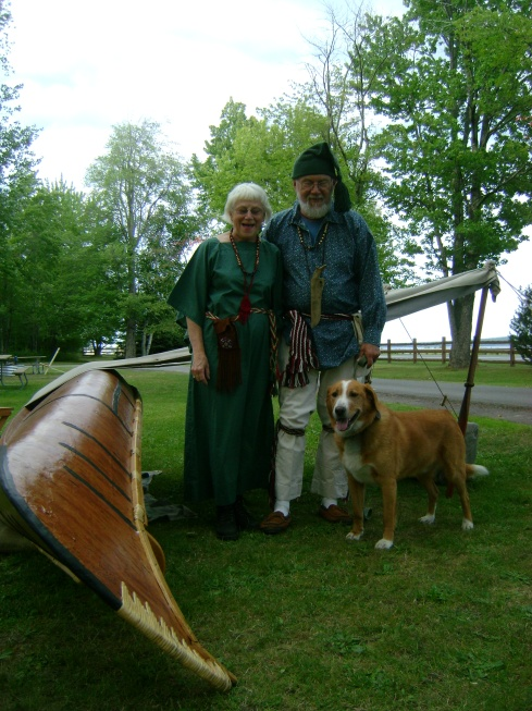 Voyager, wife, dog, and canoe
