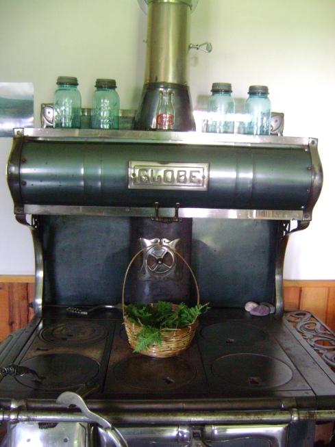Basket of cedar on Catherine's stove