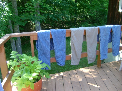 Laundry dries on deck, an impromptu clothes line