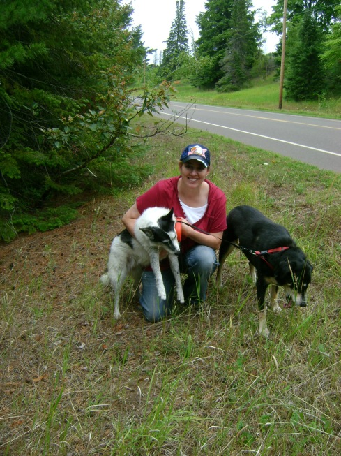 Denise and the dogs on our five to six mile hike yesterday