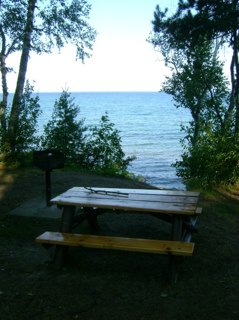 Picnic table overlooks Lake Superior at Five Mile Point