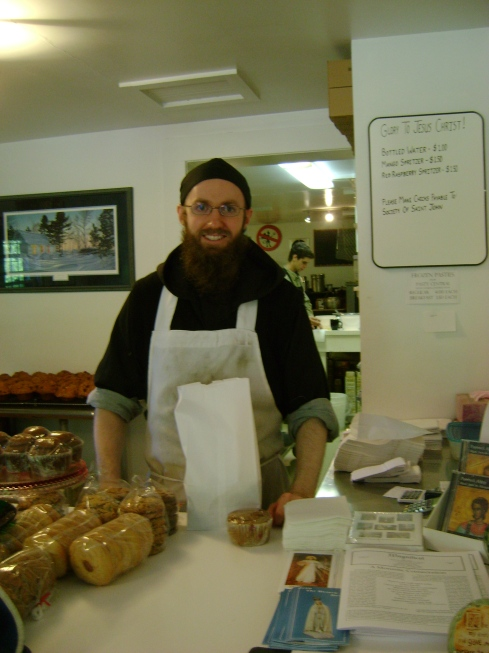Society of St. John monk selling really good jam and muffins at the Jam Pot