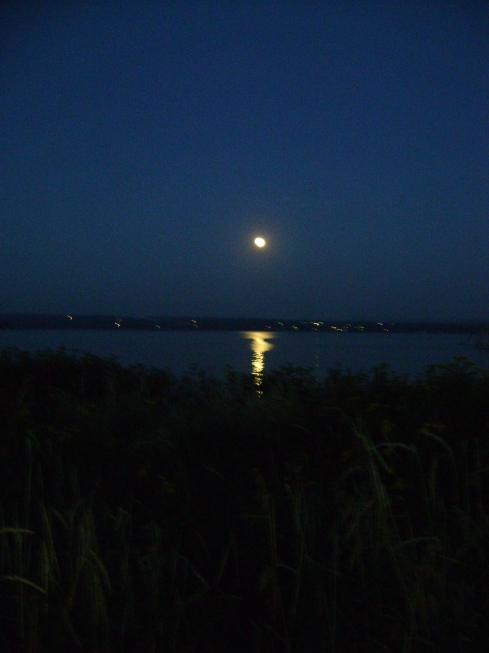 Wild rice moon shines on the Keweenaw Bay