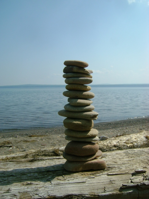 Just look at how high that pile of flat rocks is!