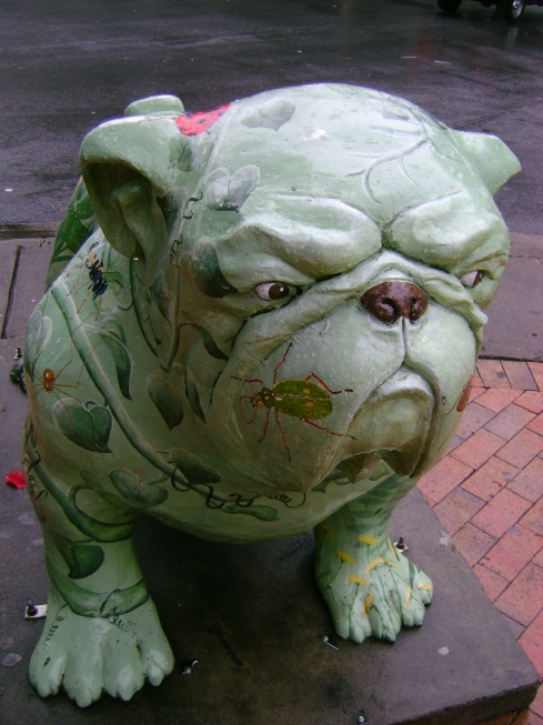 Bulldog decorated with butterflies and insects