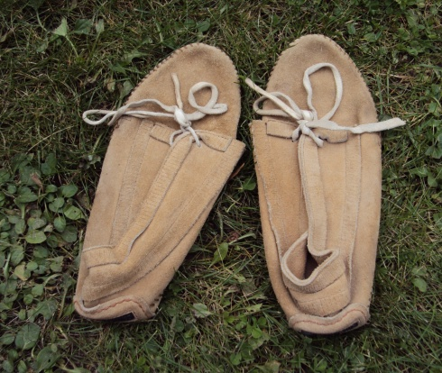 One pair of rather old broken-in comfortable mocassins
