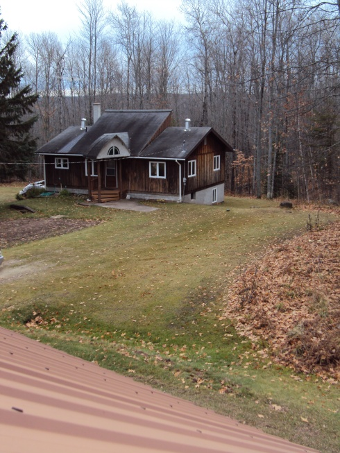 Looking down on our little house in the big woods