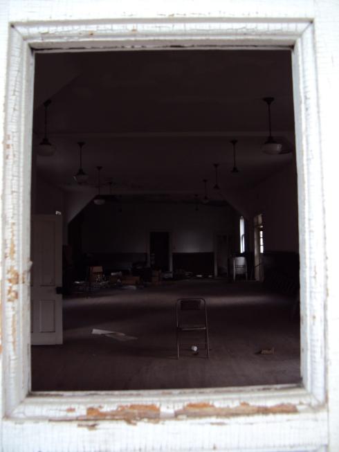 Peeking through the broken window