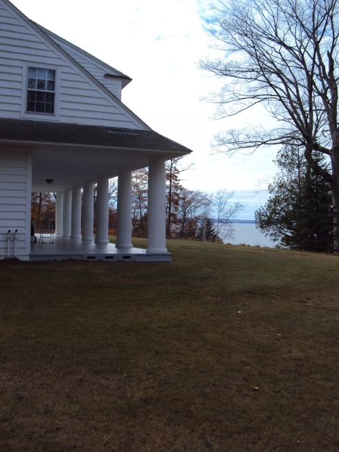 The Ford's view of Lake Superior through the southern-style columns